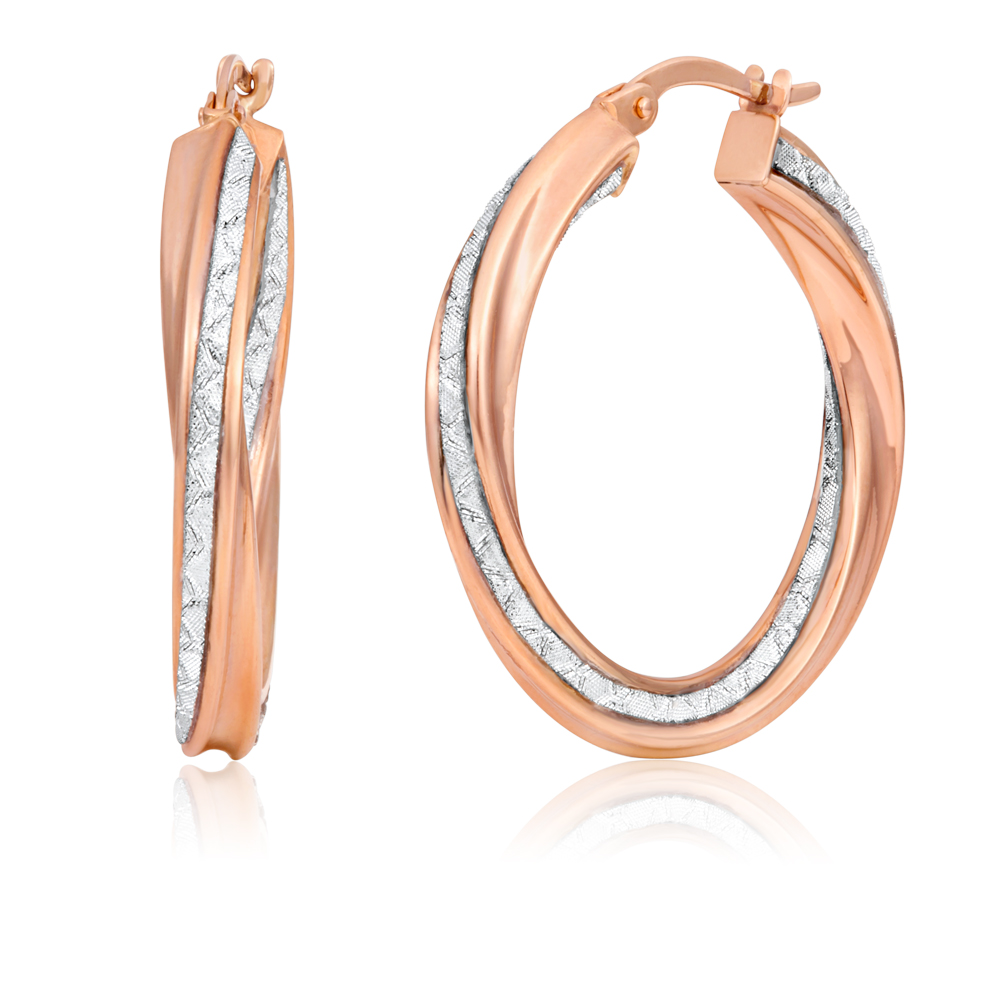 9ct Rose Gold Hoops 20mm Stardust