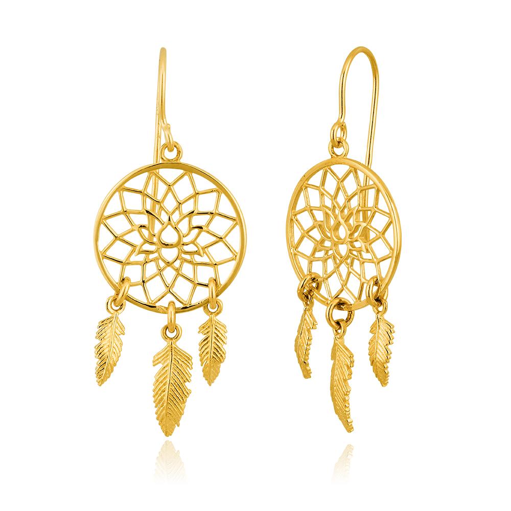 9ct Yellow Gold Fancy Dream Catcher Drop Earrings 9y