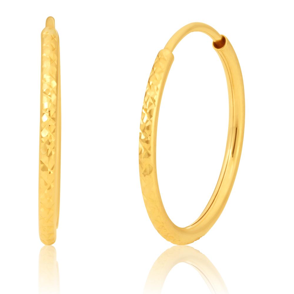 9ct Diamond-Cut Hoop Earrings 9y