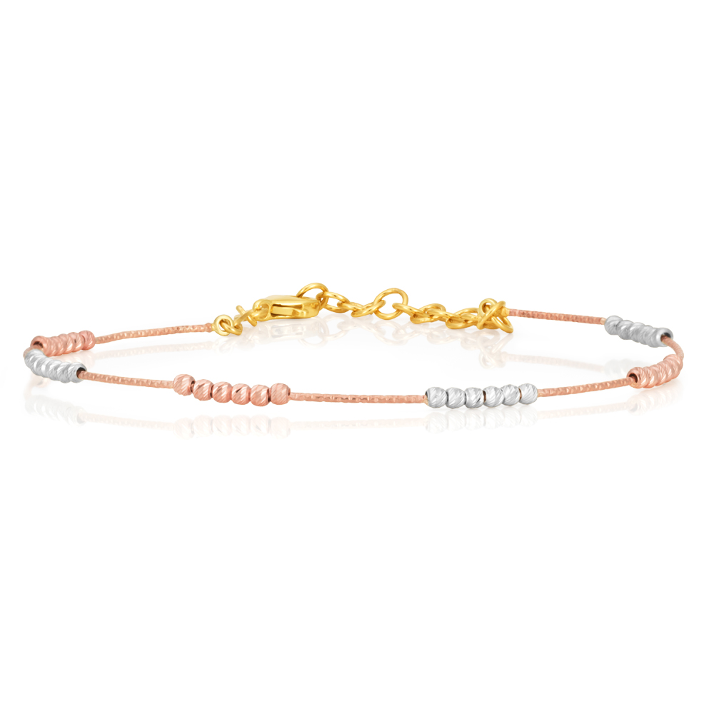 9ct Yellow Gold 3 Tone 17cm Bracelet with 2cm Extension