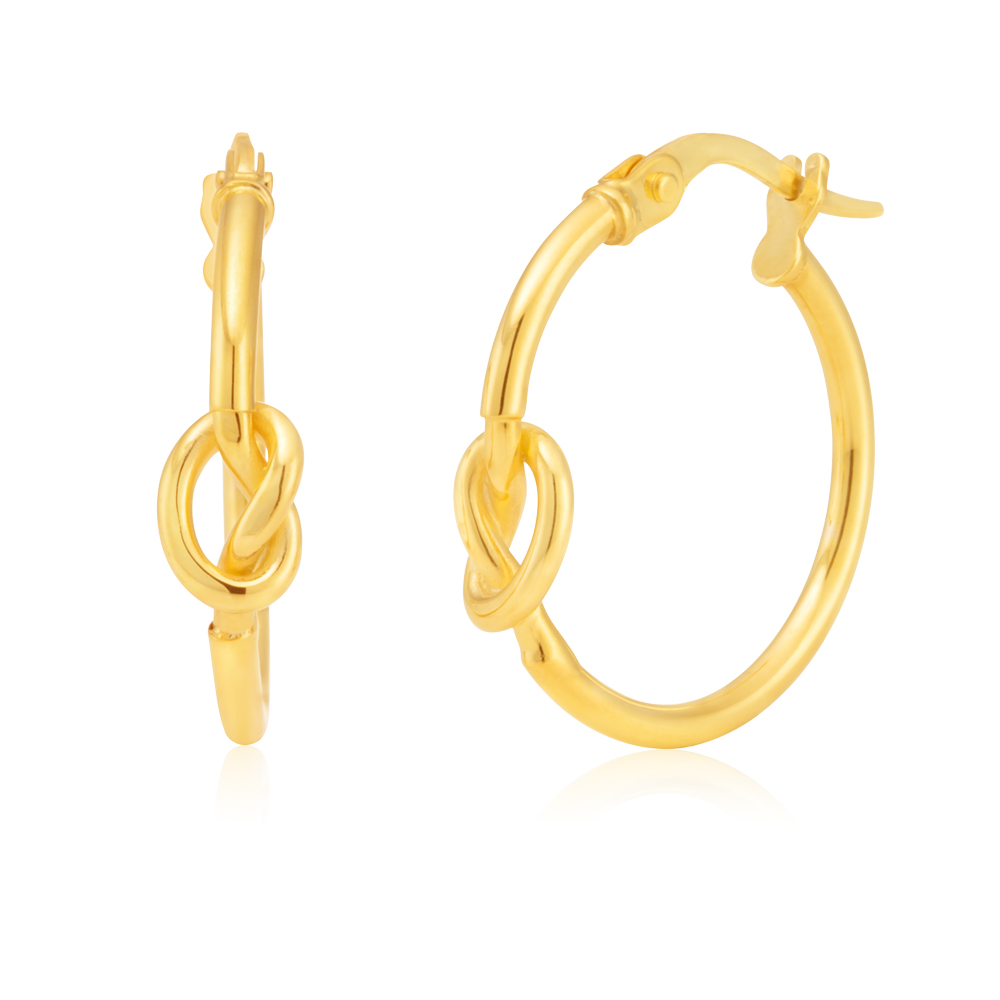 9ct Yellow Gold 15mm Hoop Earrings With Knot Details