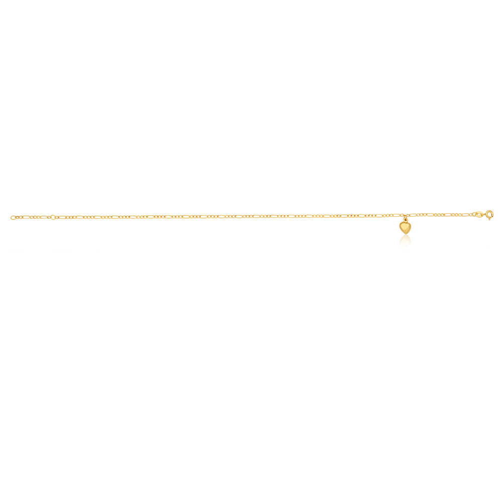 9ct Yellow Gold Heart Charm 3:1 Figaro 29cm Anklet