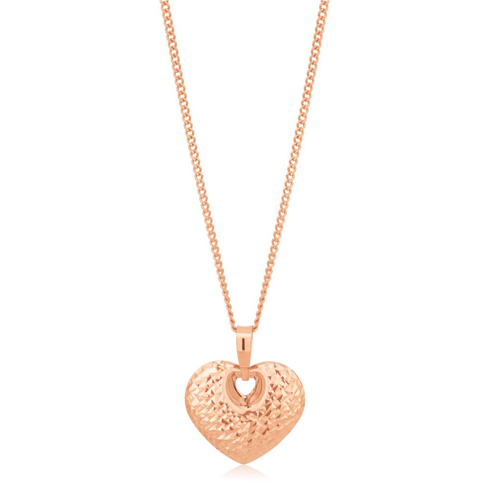 9CT Rose Gold  Diamond Cut Heart Pendant