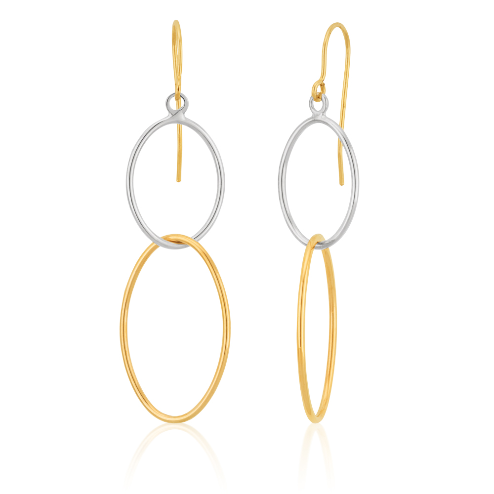 9ct Three Tone Gold Double Oval Hoop Earrings