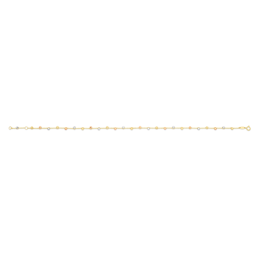 9ct Yellow Gold Ball Charms on 27cm Trace Link Anklet