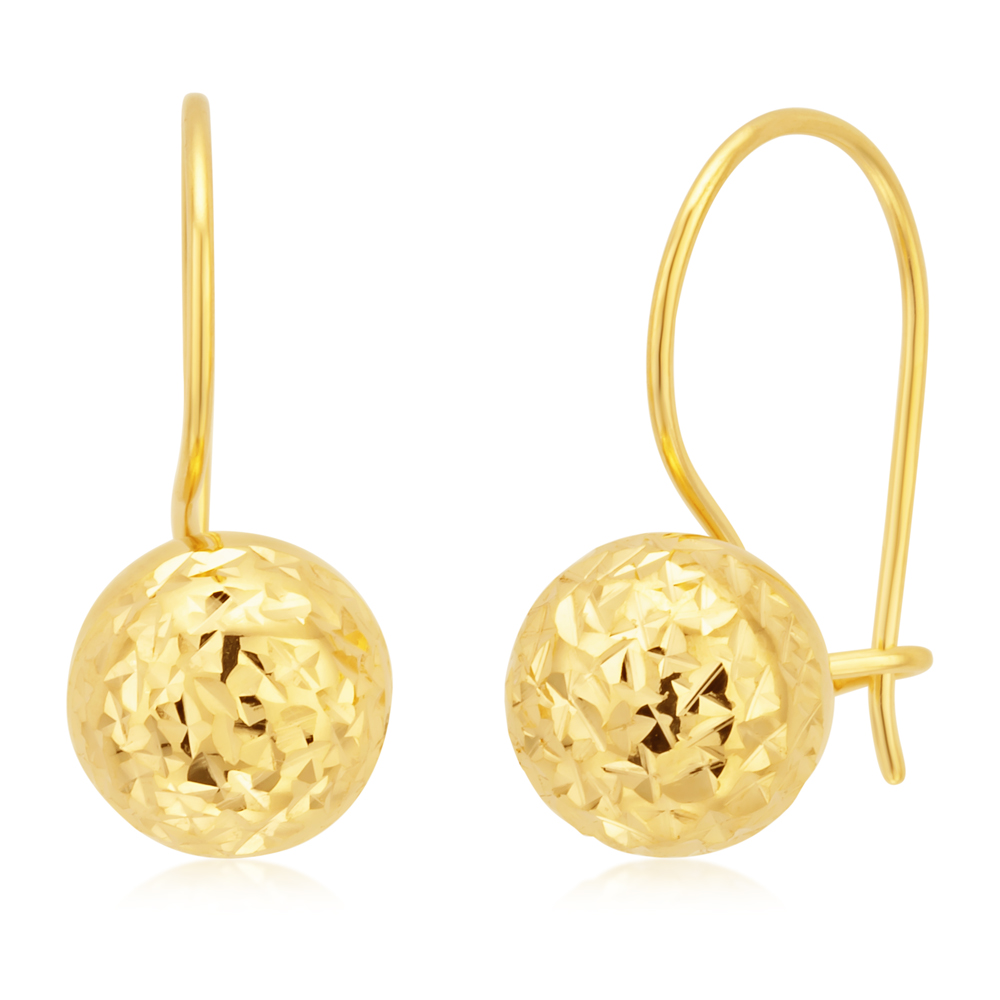 9ct Yellow Gold 7mm Diamond Cut Euroball Earrings