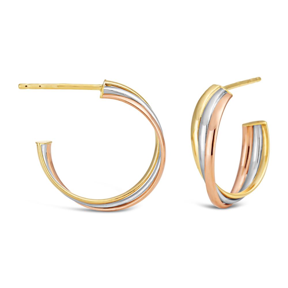 9ct Three-Tone Gold Triple Plain Half Hoop Stud Earrings