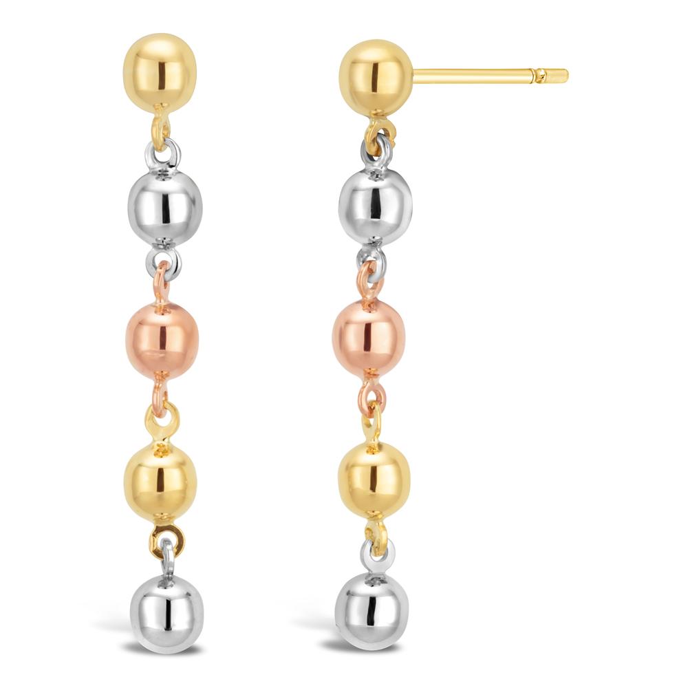 9ct Three-Tone Plain Beaded Drop Ball Earrings