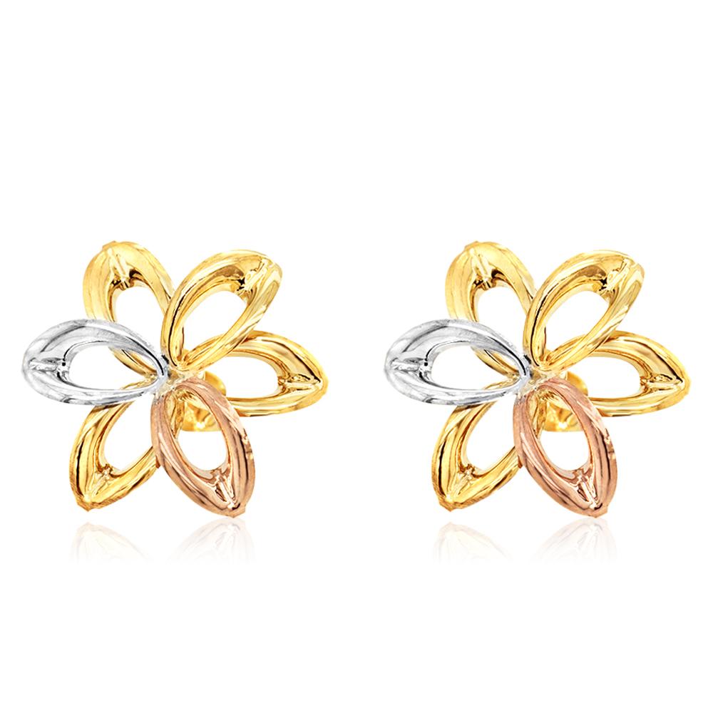 9ct Three-Tone Gold Flower Cutout Stud Earrings