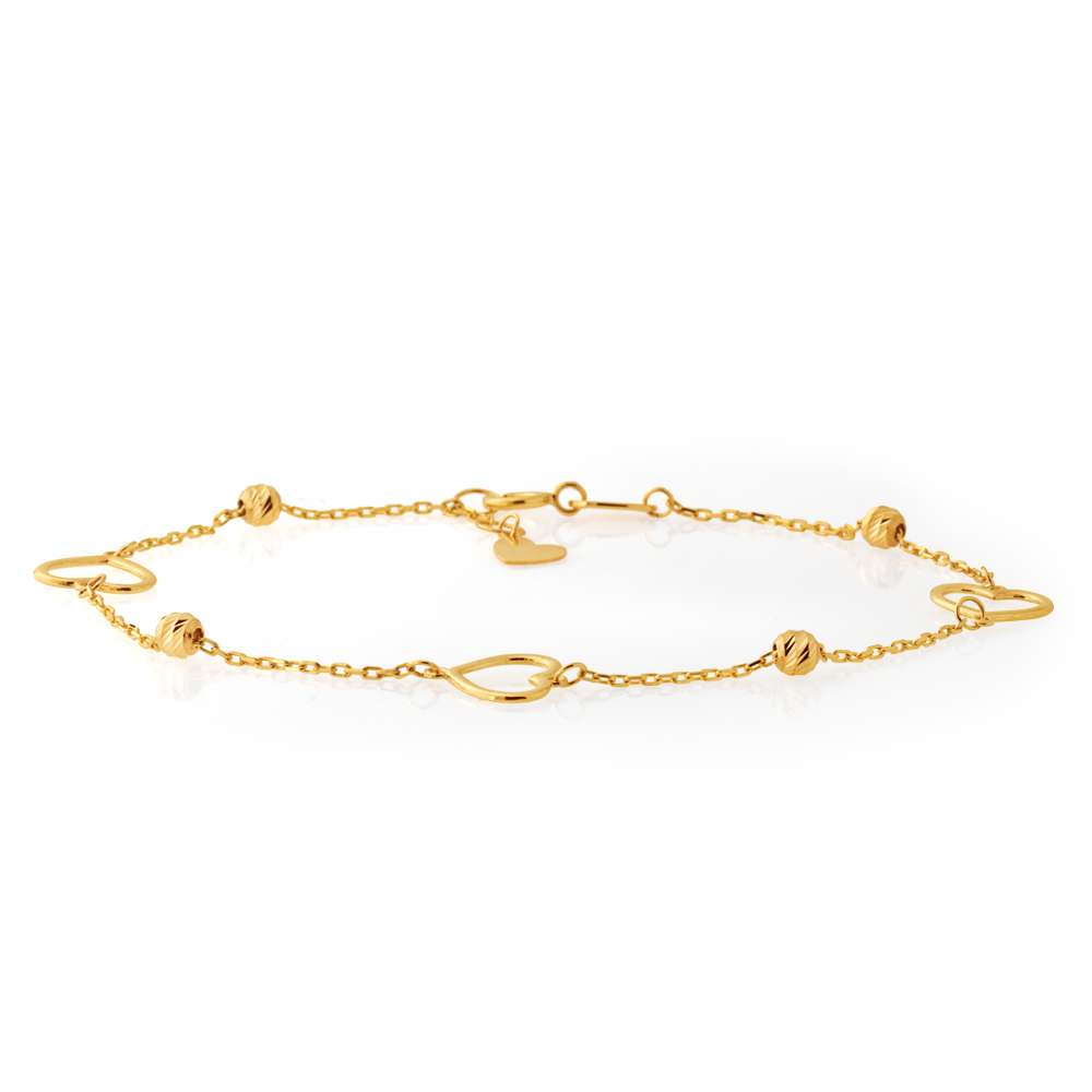 9ct Yellow Gold Heart and Bead 19cm Bracelet