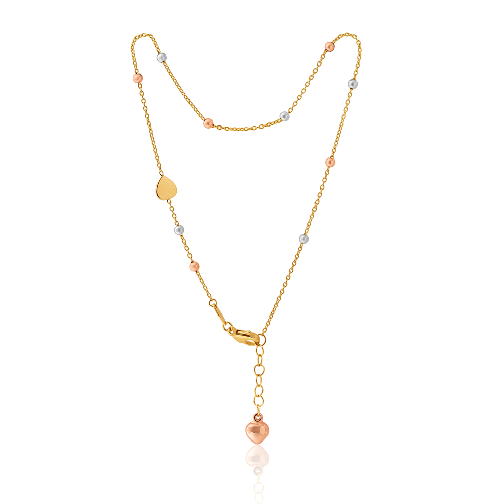9ct Three-Tone Gold Heart and Bead 27cm Anklet