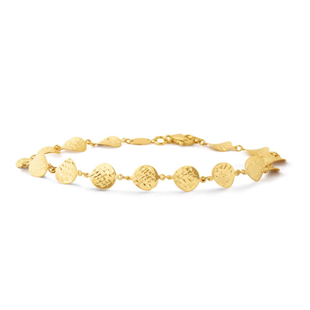 9ct Yellow Gold Diamond Cut Disks 19cm Bracelet