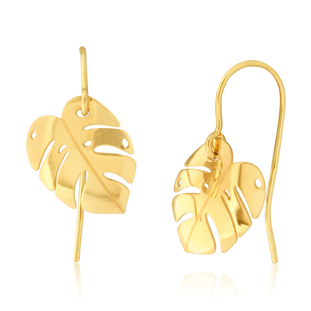 9ct Yellow Gold Leaf Drop Earrings