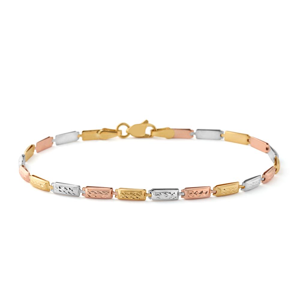 9ct Three-Tone Gold Diamond Cut Links 19cm Bracelet