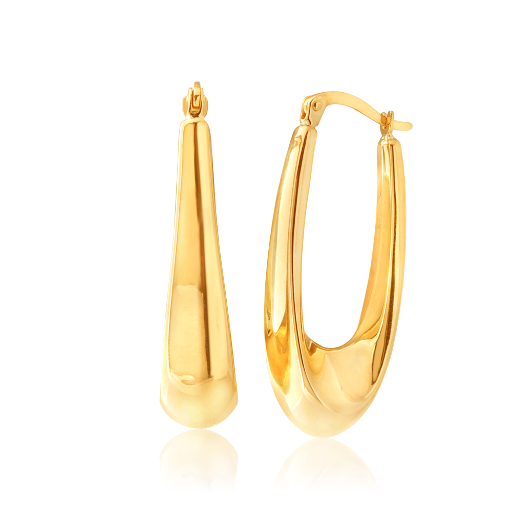 9ct Yellow Gold Fancy Hoop Earrings