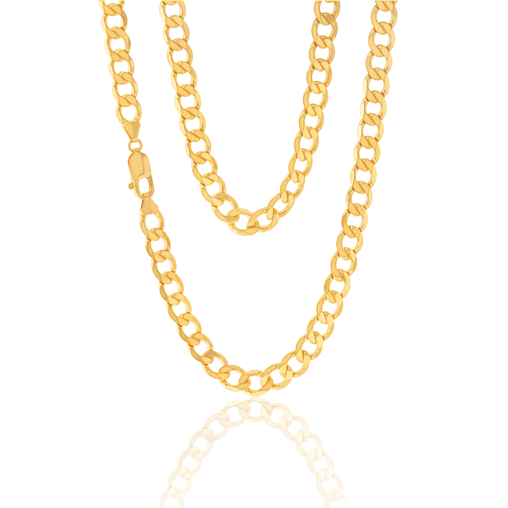 9ct Yellow Gold 55cm Curb Chain