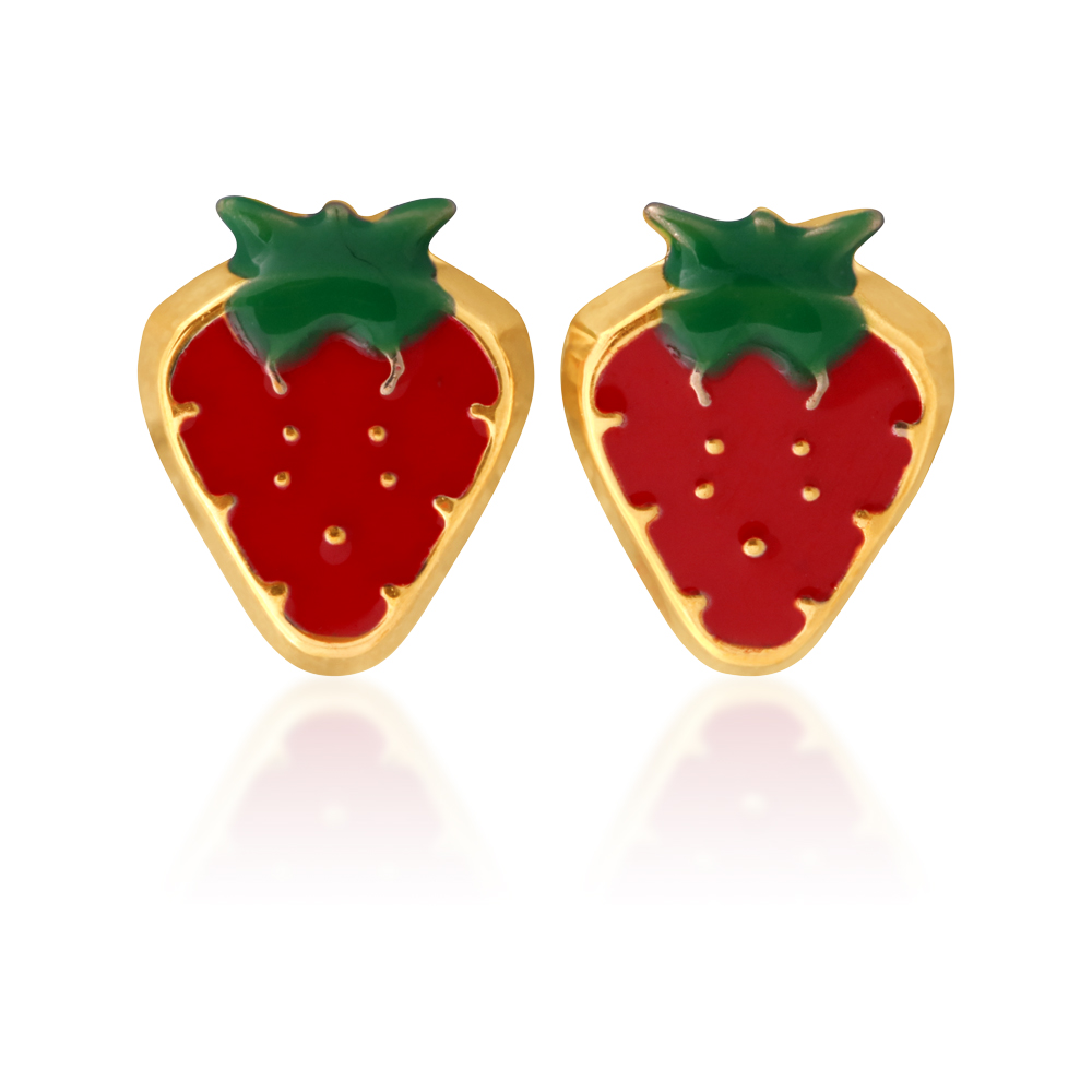 9ct Yellow Gold Strawberry Stud Earrings
