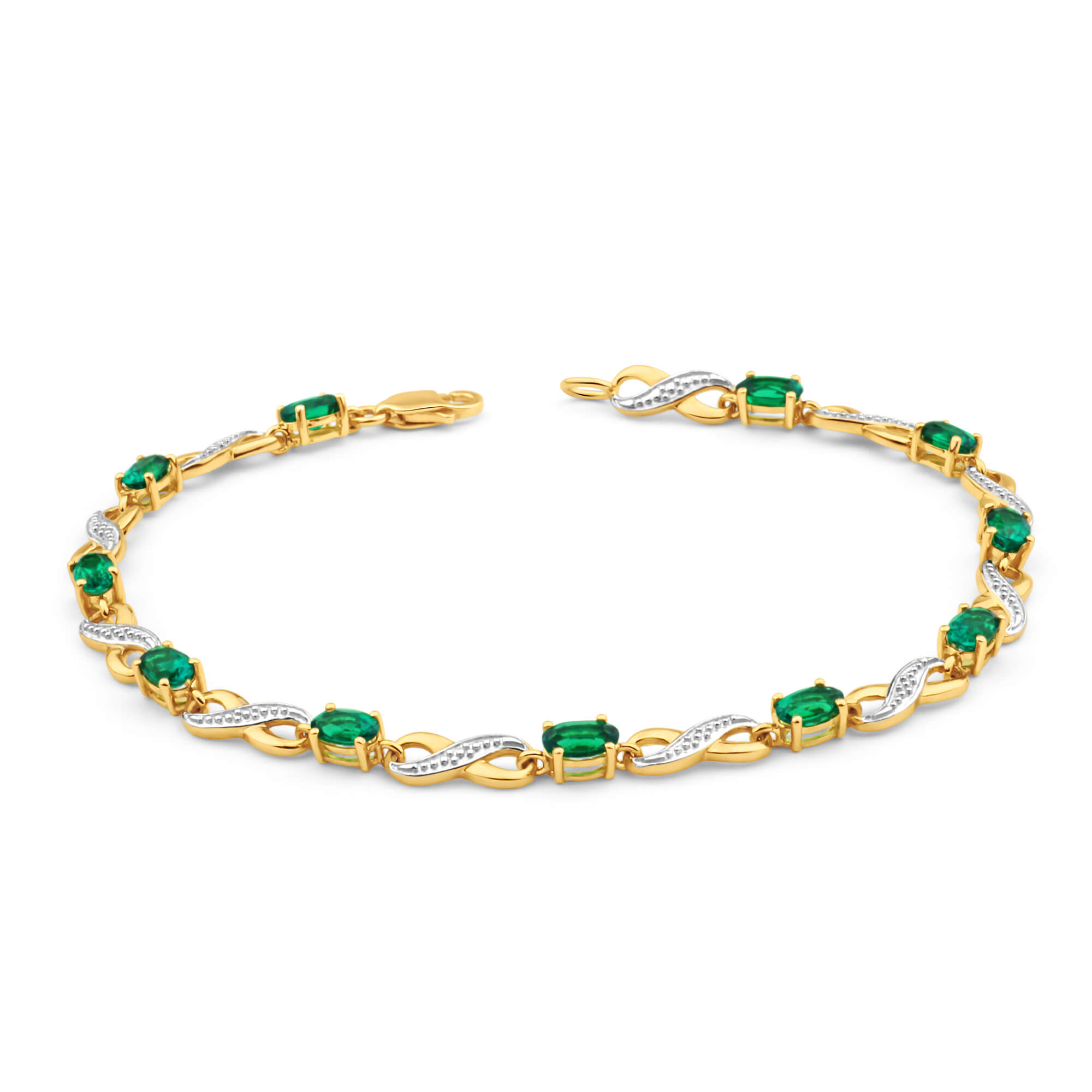 9ct Yellow Gold Created Emerald and Diamond 18cm Infinity Bracelet