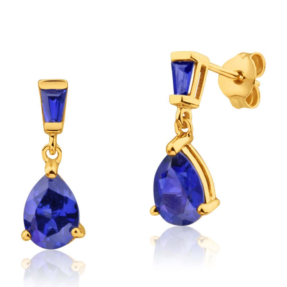 9ct Yellow Gold Created Sapphire Drop Earrings