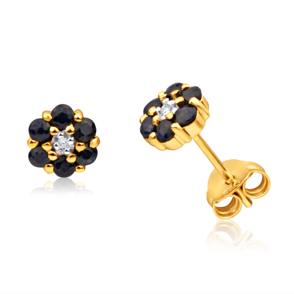 9ct Yellow Gold Dark Sapphire + Diamond Stud Earrings