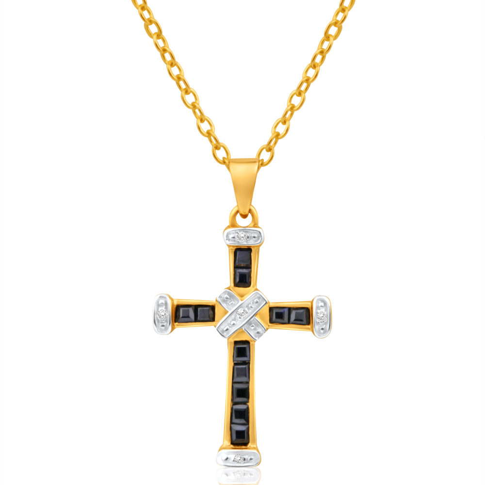 9ct Yellow Gold Dark Sapphire + Diamond Cross Pendant