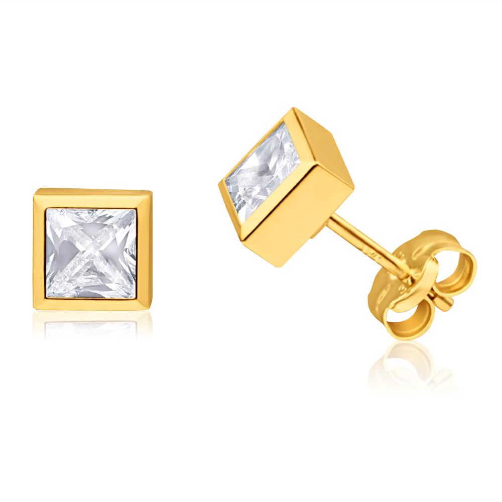 9ct Yellow Gold Cubic Zirconia 5mm Princess Stud Earrings
