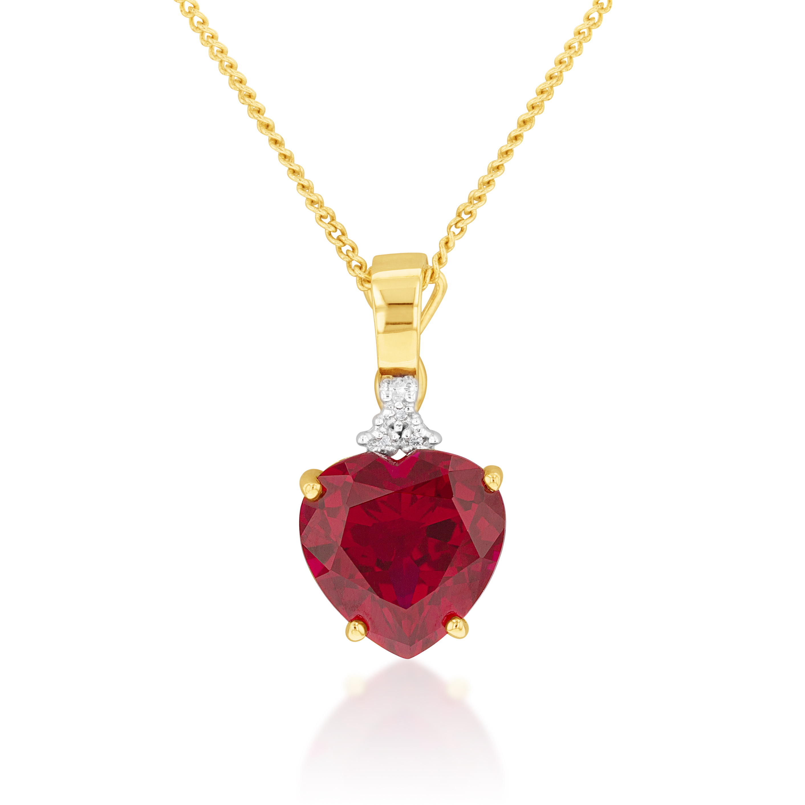 9ct Superb Yellow Gold Created Ruby + Diamond Heart Pendant