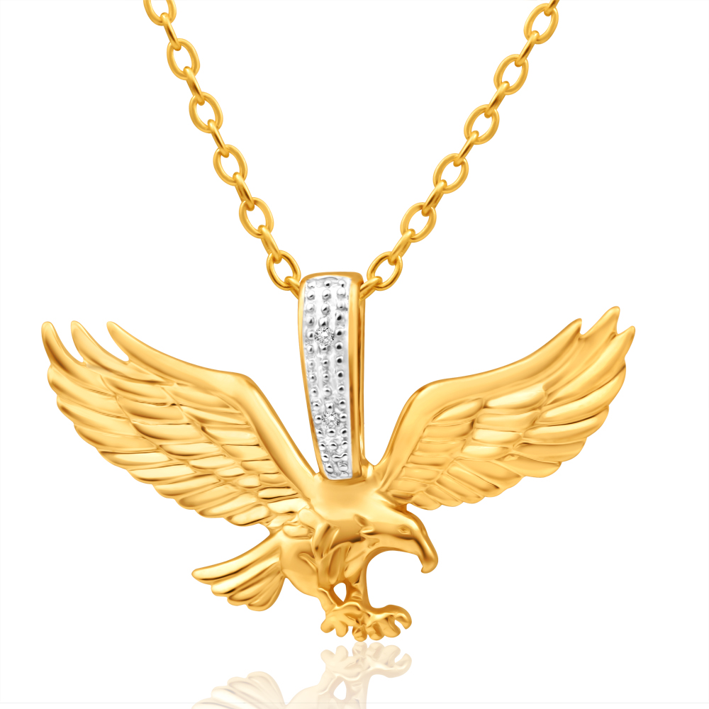 9ct Yellow Gold Diamond Eagle Pendant