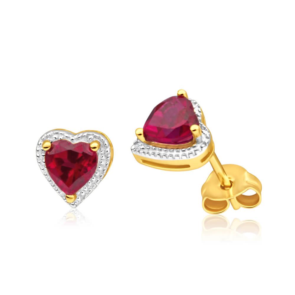 9ct Radiant Yellow Gold Created Ruby + Diamond Stud Earrings