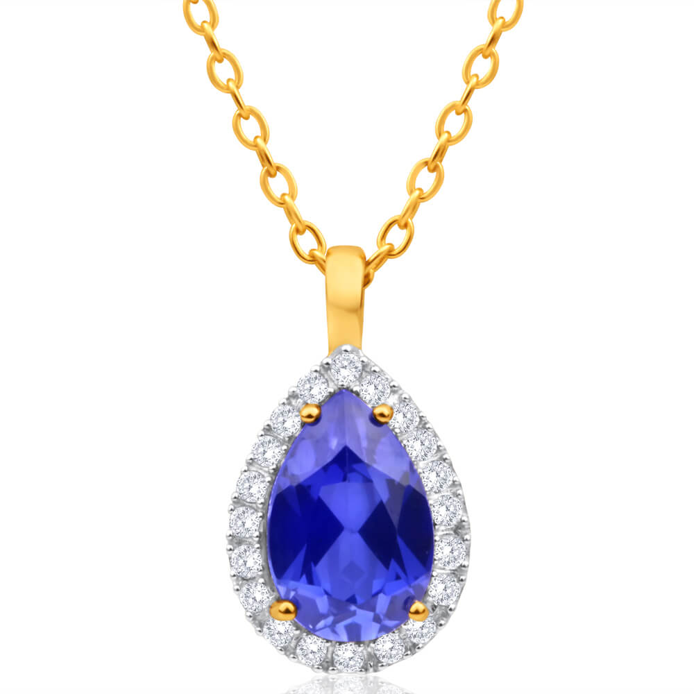 9ct Yellow Gold Created Sapphire + Cubic Zirconia Pendant
