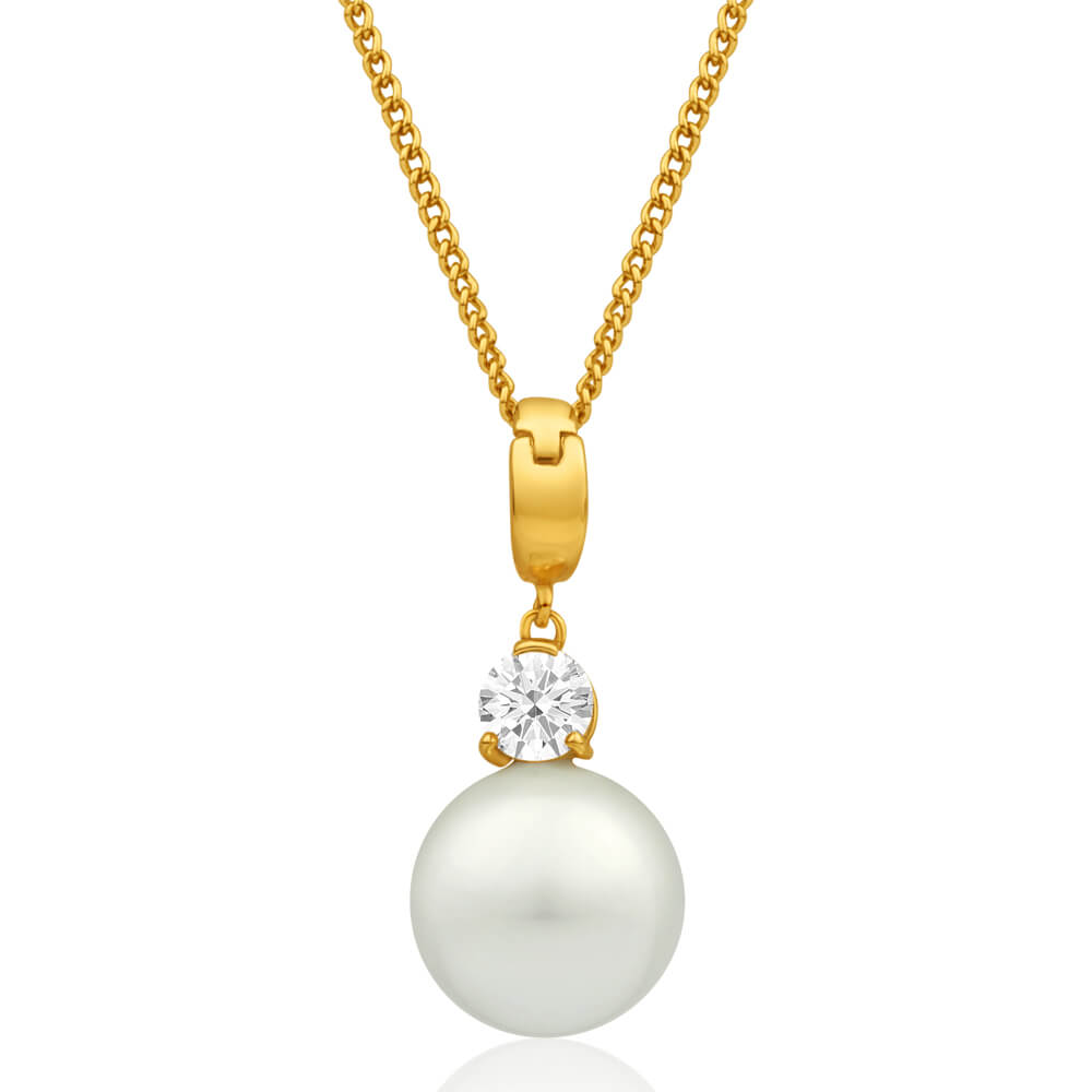9ct Alluring Yellow Gold Cubic Zirconia + Simulated Pearl Pendant