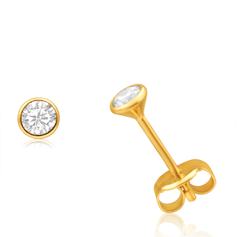 9ct Yellow Gold Cubic Zirconia 3mm Bezel Set Stud Earrings
