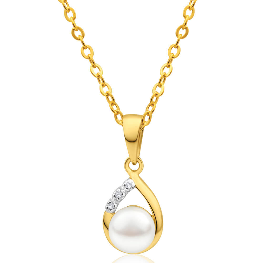 9ct Elegant Yellow Gold Diamond + Pearl Pendant