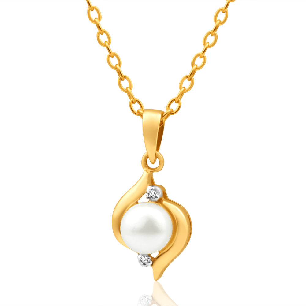 9ct Dazzling Yellow Gold Diamond + Pearl Pendant