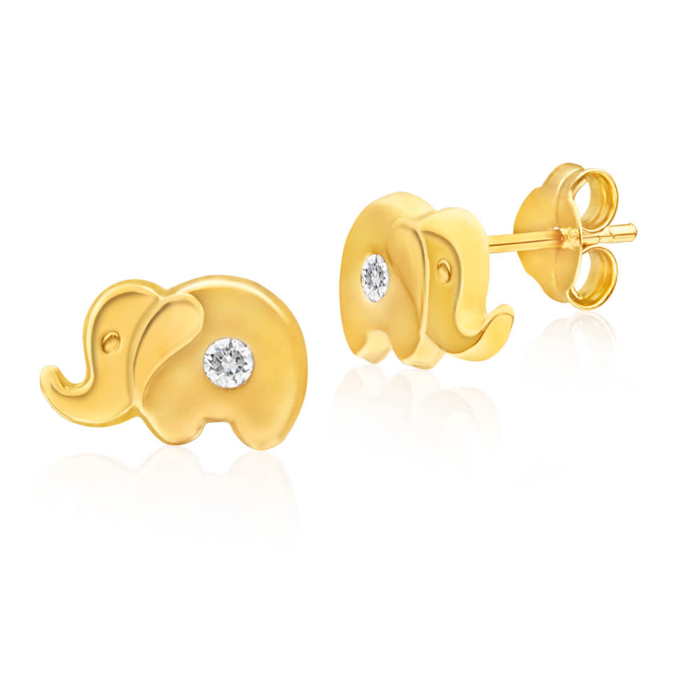 9ct Yellow Gold Cubic Zirconia Elephant Stud Earrings