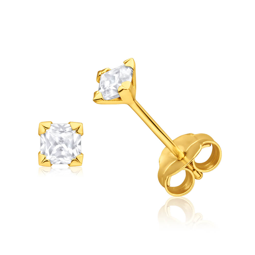 9ct Yellow Gold Cubic Zirconia 3mm Princess Cut Stud Earrings