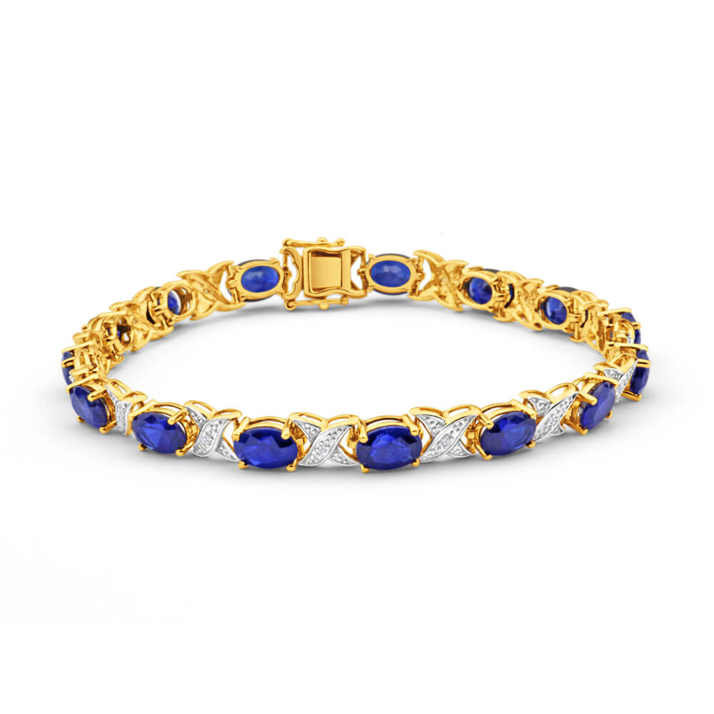 9ct Yellow Gold 7x5mm Oval Cut Created Sapphire and Diamond 19cm Crossover Bracelet