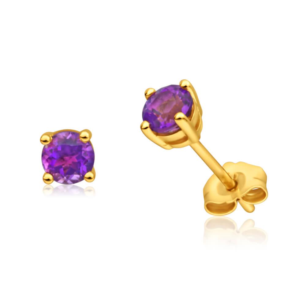 9ct Alluring Yellow Gold Amethyst Stud Earrings