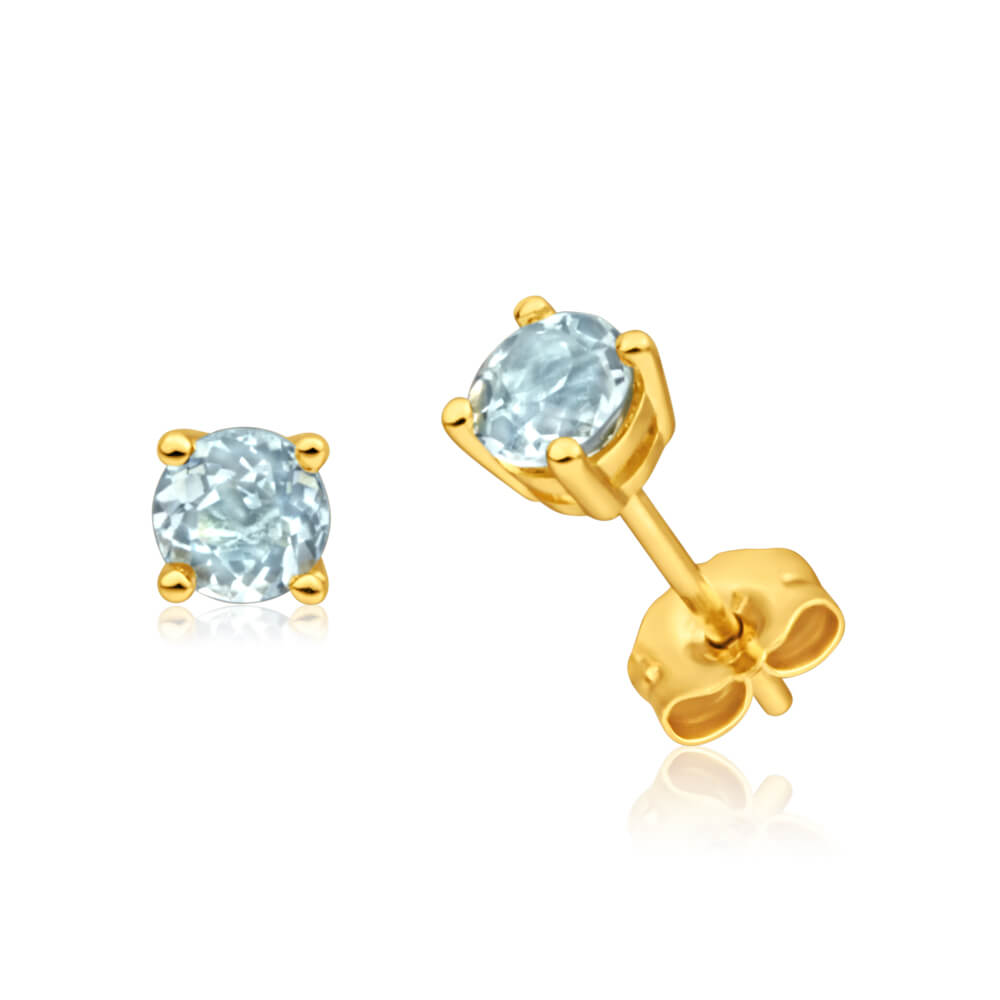 9ct Yellow Gold Aquamarine 4mm Stud Earrings