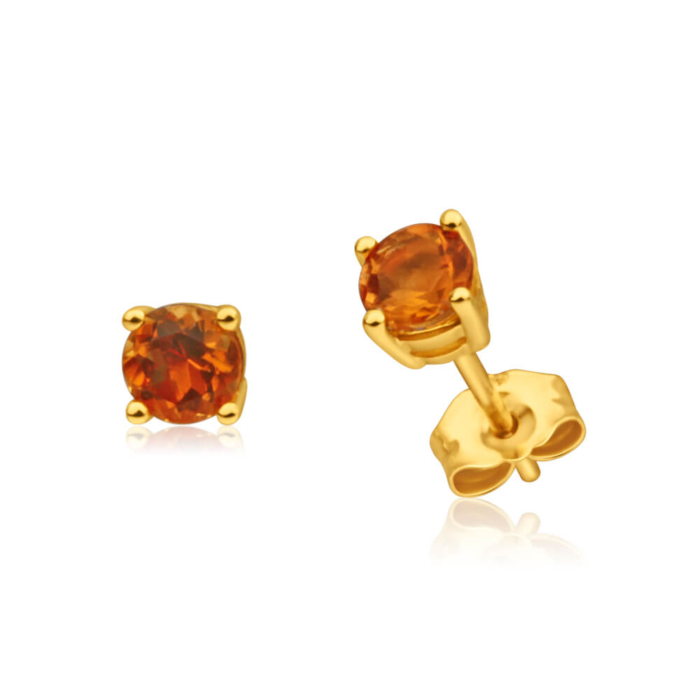 9ct Yellow Gold Citrine Stud Earrings