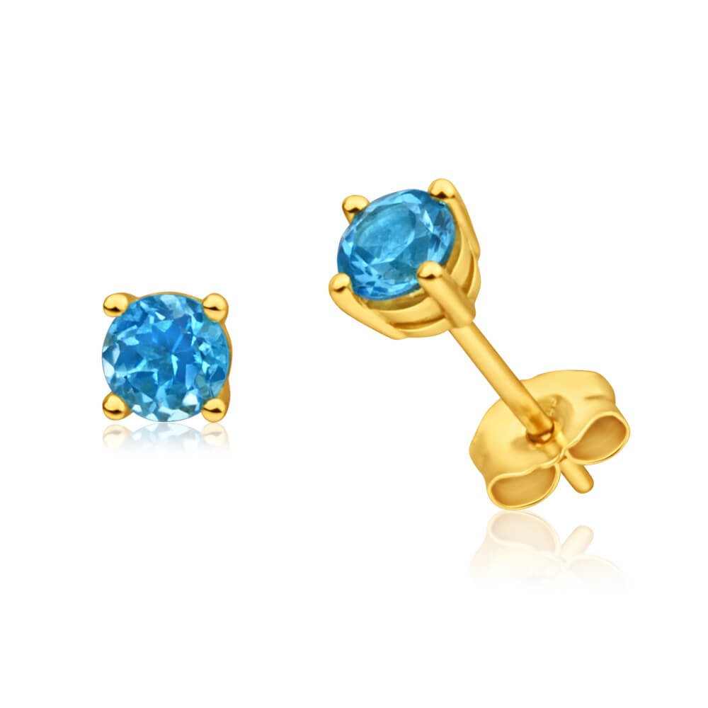 9ct Yellow Gold Blue Topaz 4mm Stud Earrings