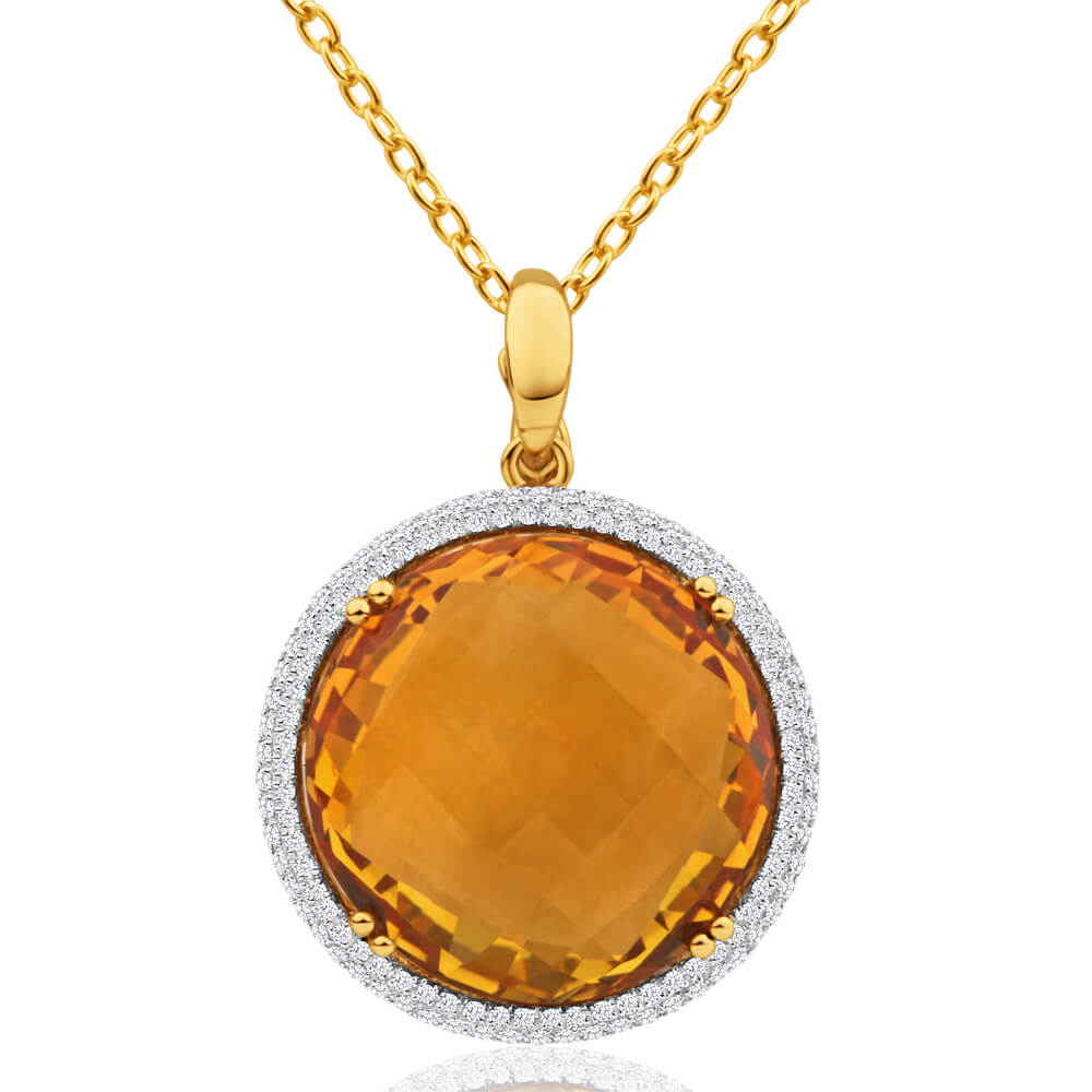 9ct Yellow Gold Citrine + Diamond Pendant