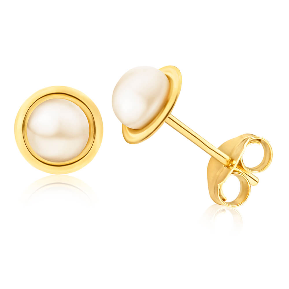 9ct Yellow Gold 4mm Freshwater Pearl Stud Earrings