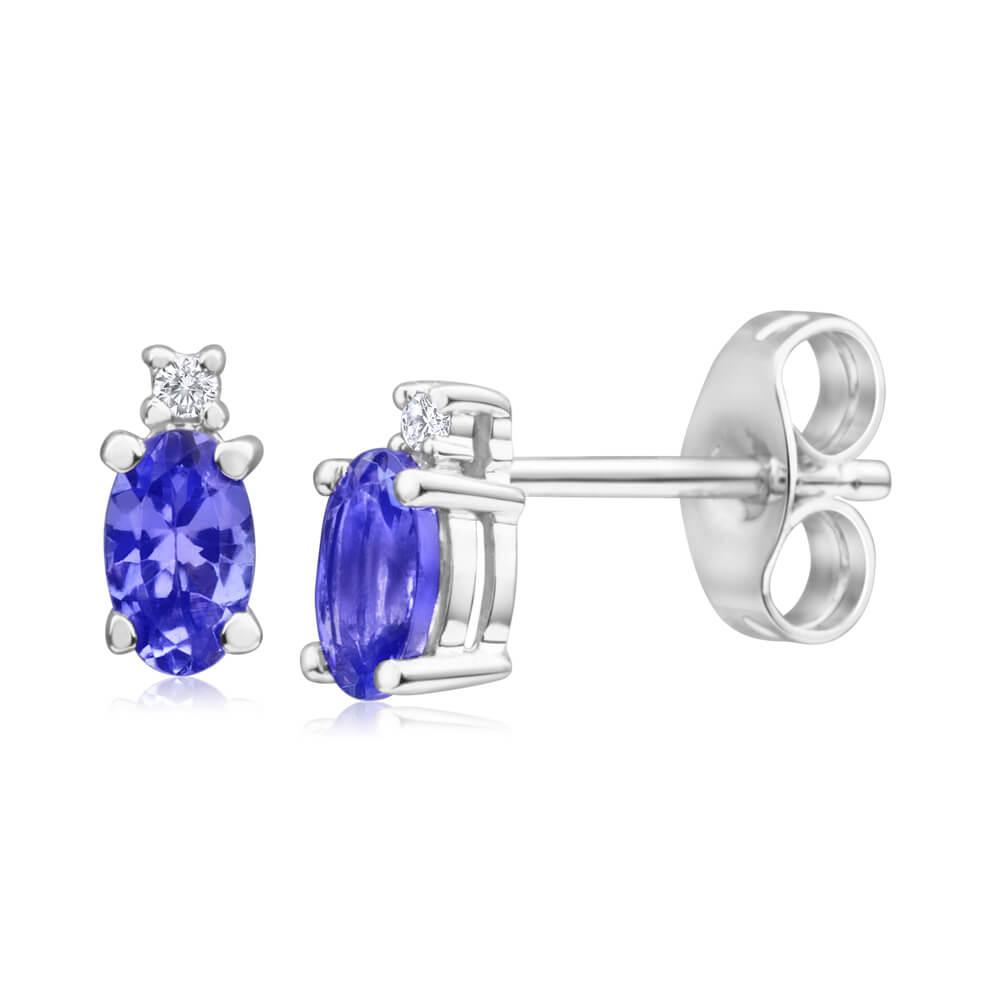 9ct White Gold Tanzanite & Diamond Stud Earrings
