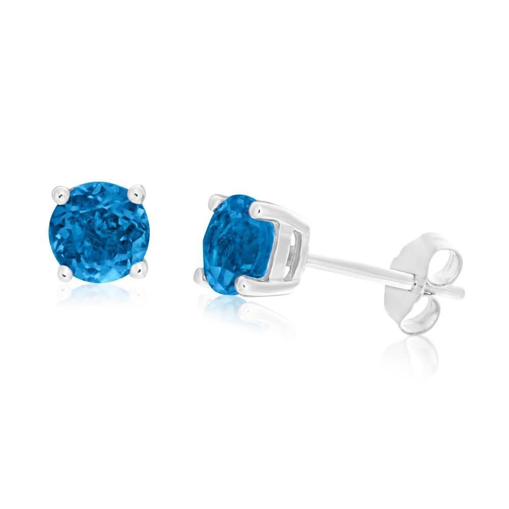 9ct White Gold London Blue Topaz 5mm Stud Earrings