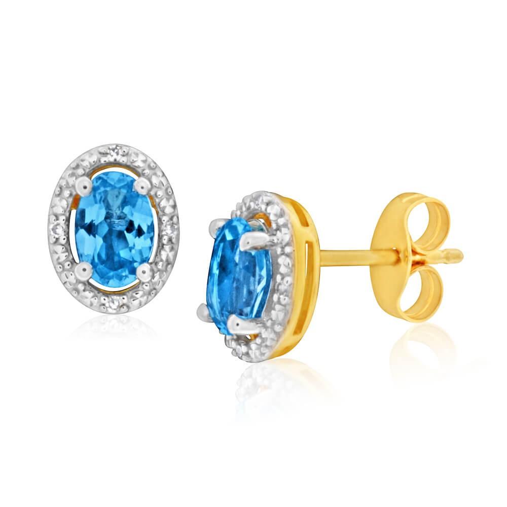 9ct Yellow Gold Blue Topaz + Diamond Stud Earrings