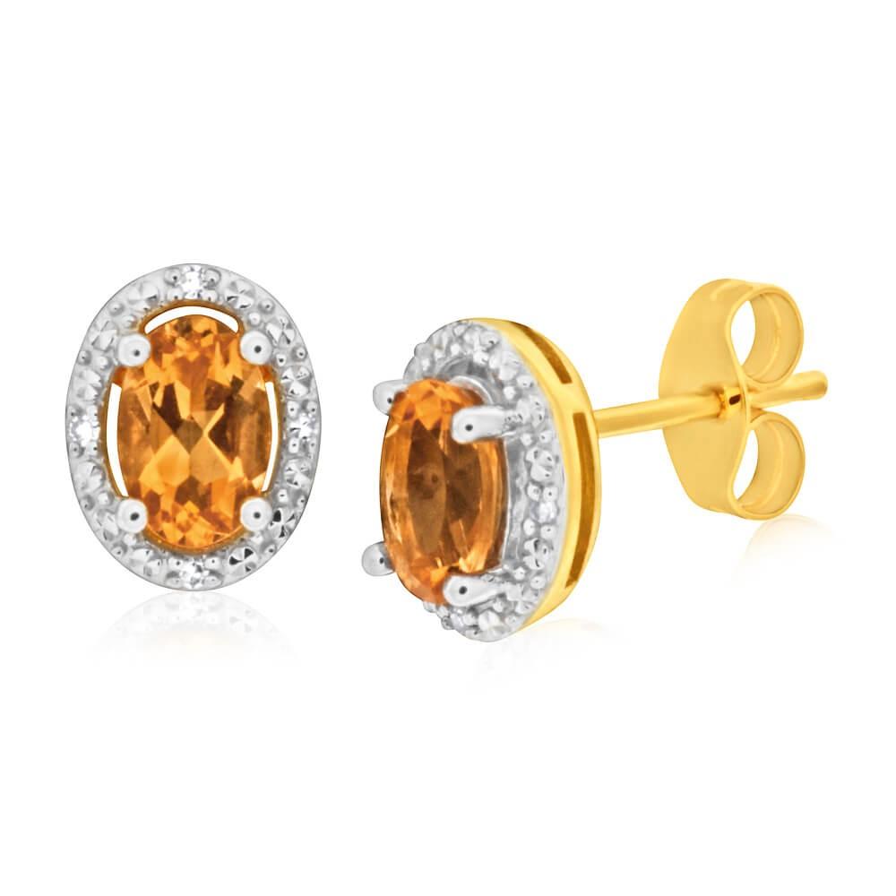 9ct Yellow Gold Citrine & Diamond Stud Earrings
