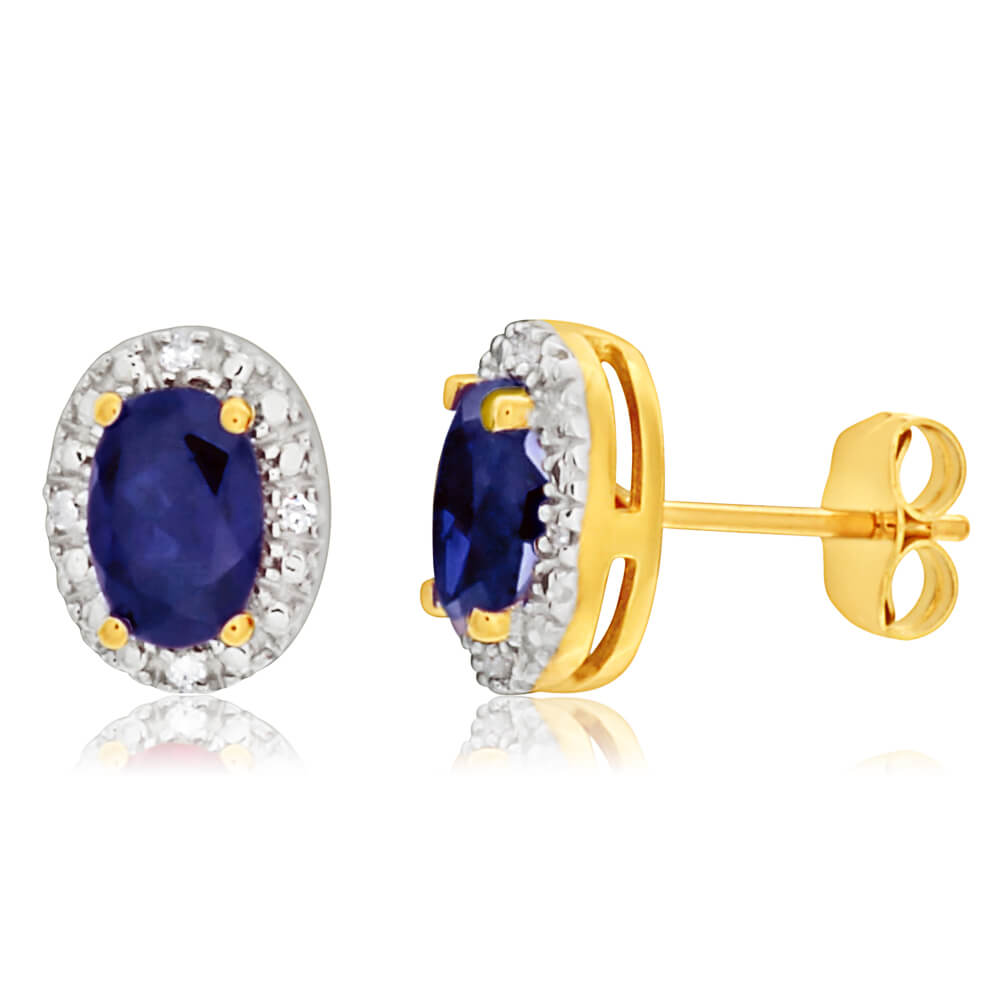 9ct Yellow Gold Created Sapphire 6x4mm + Diamond Stud Earrings