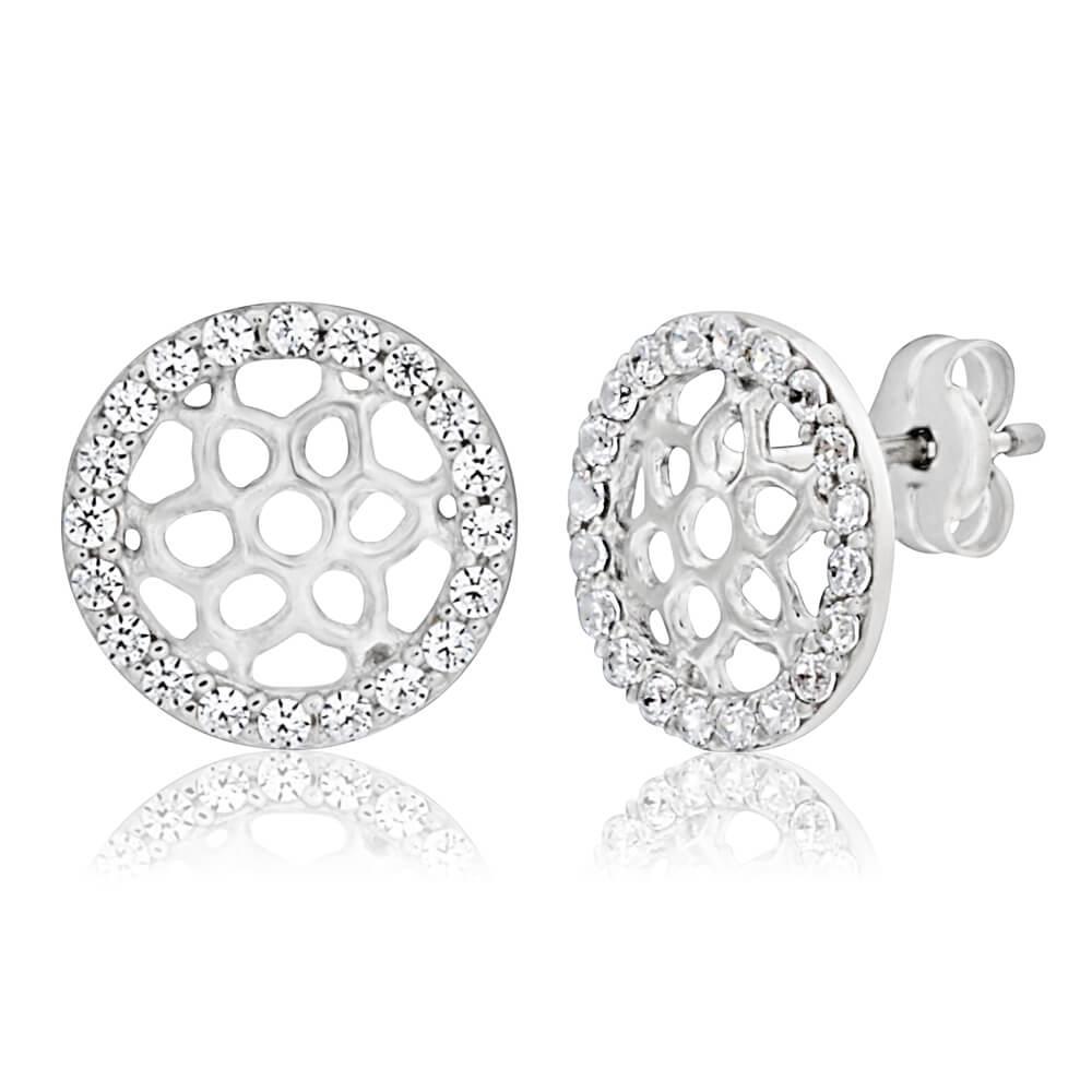 9ct White Gold Elegant  Cubic Zirconia Stud Earrings