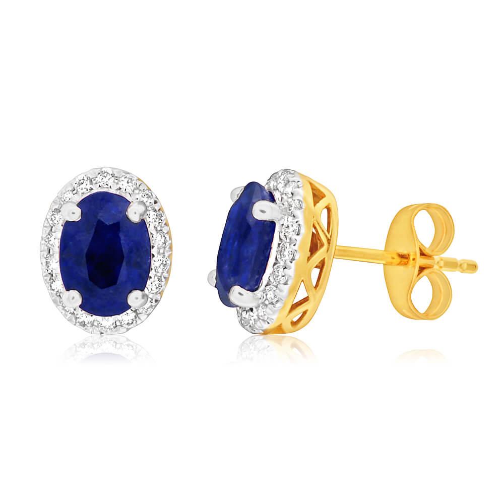 9ct Yellow Gold Diamond + Natural Black Sapphire Stud Earrings
